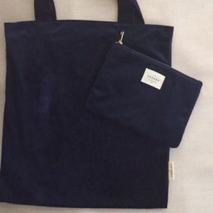 NEW Sezane set of Pouch and tote in navy.